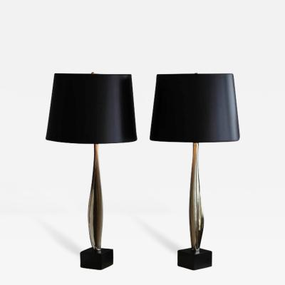 Maurizio Tempestini Pair of Sculptural Nickel Plated Table Lamps Attributed to Maurizio Tempestini