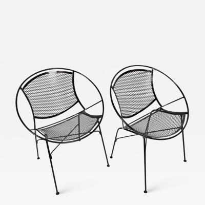 Maurizio Tempestini Pair of Tempestini for Salterini Radar Black Enamel Iron Chairs 1950s