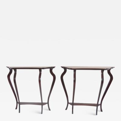 Maurizio Tempestini Pair of Unique Walnut Curved Console by Arch Tempestini 1940 1950