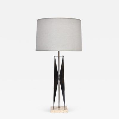 Maurizio Tempestini Tall Maurizio Tempestini Chrome Travertine Geometric Table Lamp 1960s