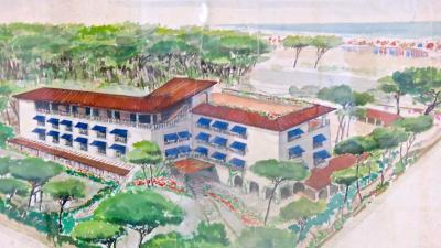 Maurizio Tempestini Watercolor on Paper Albergo Al Forte seaside by Maurizio Tempestini 1939