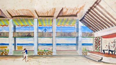 Maurizio Tempestini Watercolor on Paper INTERNO DANCING LA CAPANNINA AL FORTE M Tempestini 1939