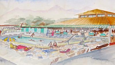Maurizio Tempestini Watercolor on Paper Piscina Al Forte Dei Marmi Maurizio Tempestini 1939