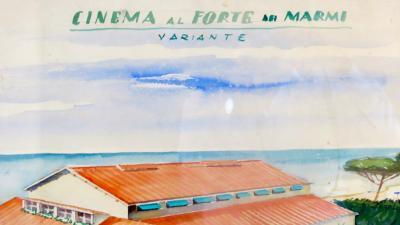 Maurizio Tempestini Watercolors on Paper Cinema Al Forte Dei Marmi Maurizio Tempestini 1939