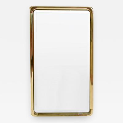 Mauro Lipparini 1970s brass framed wall mirror by Mauro Lipparini