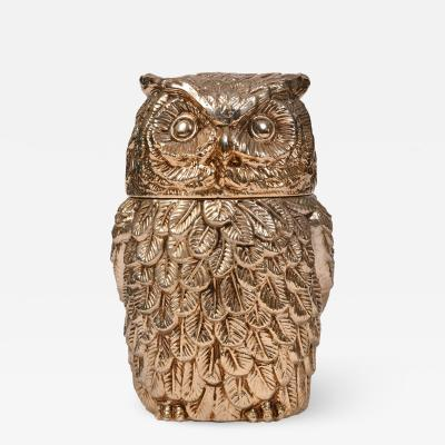 Mauro Manetti Italian 1970s gold Owl ice bucket by Mauro Manetti