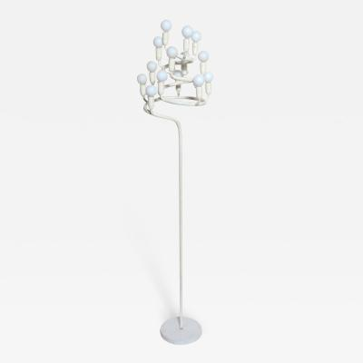 Max Bill Max Bill White Spiral Floor Lamp with 14 White Glass Globes 1960s