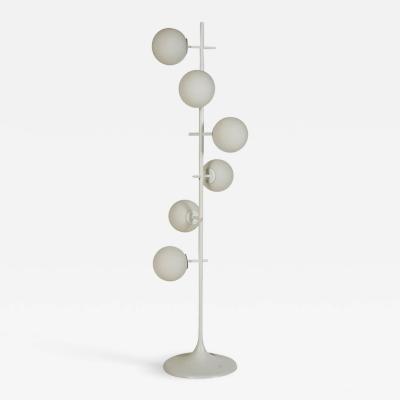 Max Bill Mid Century Modern White Ball Floor Lamp by Max Bill for Temde Switzerland