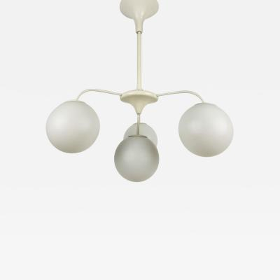 Max Bill WHITE 4 ARM SPACE AGE CHANDELIER BY MAX BILL FOR TEMDE 1960S