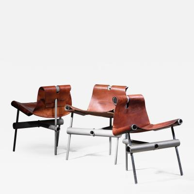Max Gottschalk Max Gottschalk set of 3 prototype leather sling chairs
