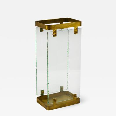 Max Ingrand 20th Century Max Ingrand Umbrella Stand for Fontana Arte in Brass and Glass