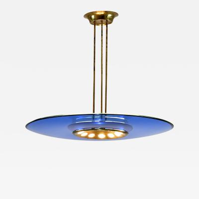 Max Ingrand Chandelier in Brass Coloured Glass and Clear Glass Model 1508