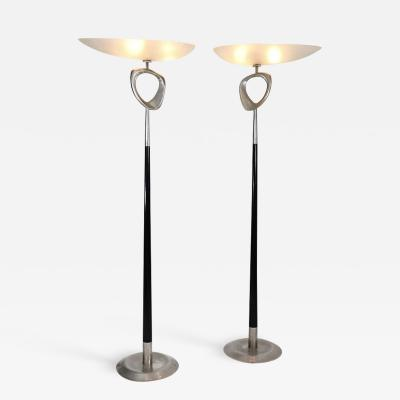 Max Ingrand Extremely rare pair of sculptural floor lamps