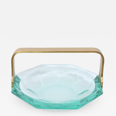 Max Ingrand Faceted Glass Dish by Max Ingrand for Fontana Arte c 1960