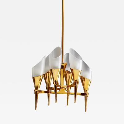 Max Ingrand Fontana Arte Glass and Bronze Chandelier