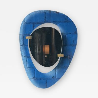 Max Ingrand Fontana Arte Rare Light Blu Sculptural Wall Mirror by Max Ingrand Italy 1958