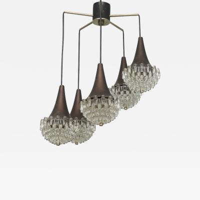 Max Ingrand Italian Modern Five Light Bronze and Glass Chandelier attributed to Max Ingrand