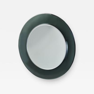 Max Ingrand Ma Ingrand Round Colored Glass Mirror 1960s
