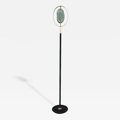 Max Ingrand Max Ingrand Floor Lamp Glazed Iron Glass and Gilded Brass circa 1970 Italy