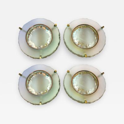 Max Ingrand Max Ingrand For Saint Gobain Set of Two Pairs of Etched Glass Round Sconces