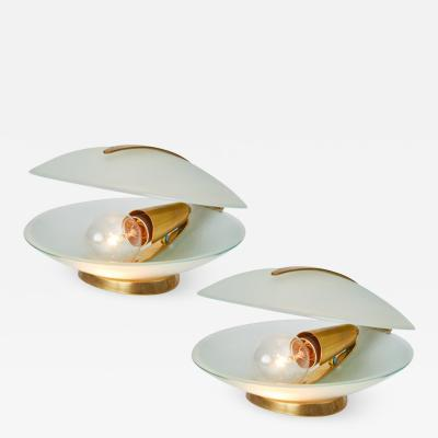 Max Ingrand Max Ingrand Glass and Brass Shell Table Lamps for Fontana Arte circa 1960