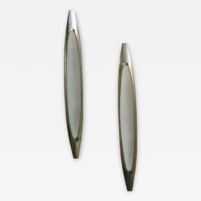 Max Ingrand Max Ingrand Pair of Wall Lamps for Fontana Arte nickel plated brass 1950s