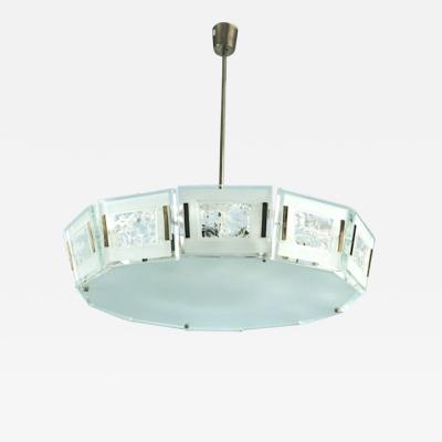 Max Ingrand Max Ingrand for Fontana Arte Rare Mid Century Chandelier in Chiseled Glass