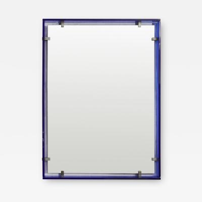 Max Ingrand Mirror with cobalt blue surround by Max Ingrand for Fontana Arte