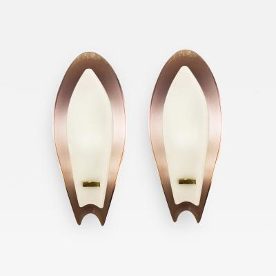 Max Ingrand Pair of Aubergine Glass Sconces by Max Ingrand for Fontana Arte