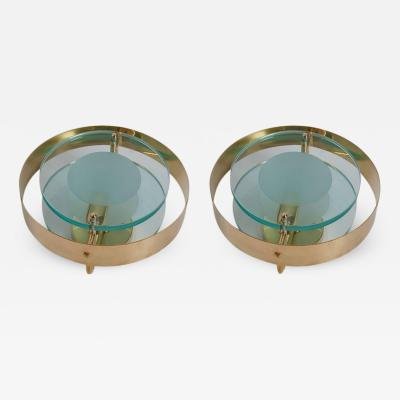 Max Ingrand Pair of Brass and Glass Sconces in the Manner of Max Ingrand and Fontana Arte