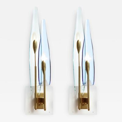 Max Ingrand Pair of Dahlia Fontana Arte Sconces by Max Ingrand
