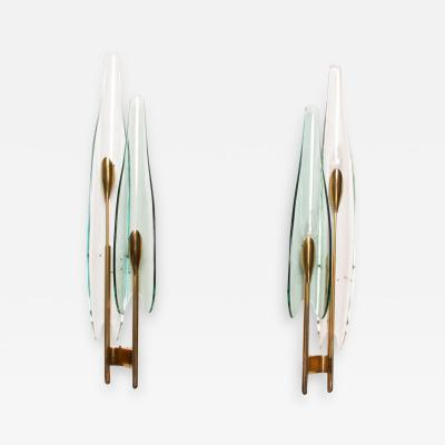 Max Ingrand Pair of Fontana Arte Dahlia Wall Sconces by Max Ingrand