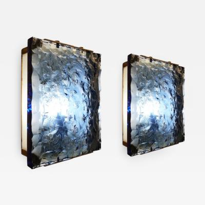 Max Ingrand Pair of Fontana Arte Sconces Model 2311 with Chiseled Blue Glass