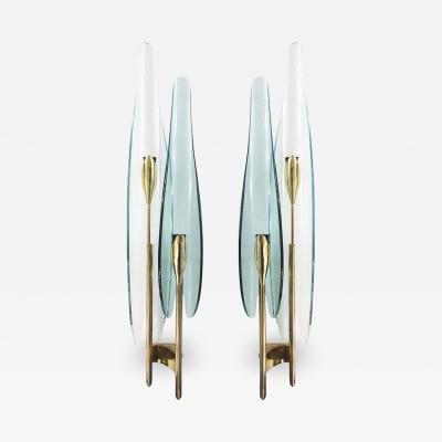 Max Ingrand Pair of Green Dalia Sconces by Max Ingrand for Fontana Arte