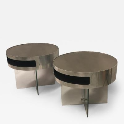 Max Ingrand Pair of Italian Steel Bronzed Glass Side End Tables Max Ingrand Fontana Arte