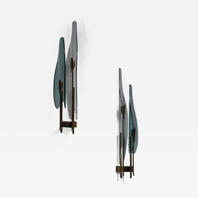 Max Ingrand Pair of Max Ingrand for Fontana Arte wall lamps