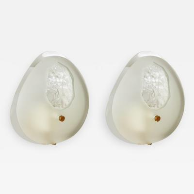 Max Ingrand Pair of Oval Glass Sconces for Fontana Arte