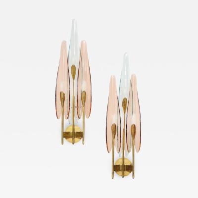 Max Ingrand Rare 3 Light Dahlia Sconces by Max Ingrand for Fontana Arte