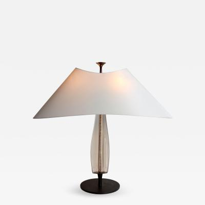 Max Ingrand Rare Table Lamp in Etched Glass and Patinated Brass