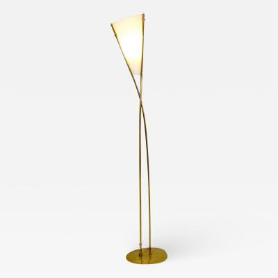 Max Ingrand Sculptural Standing Lamp in Brass and Frosted Glass Model 1819