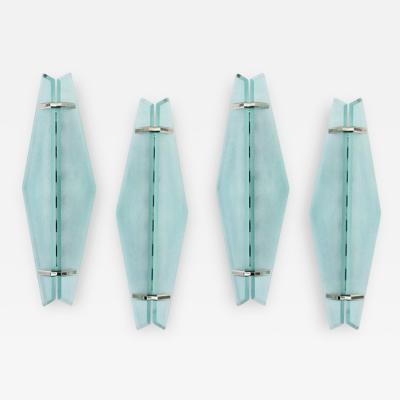 Max Ingrand Set of Four Glass Chrome Fontana Arte Wall Sconces