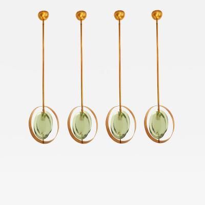 Max Ingrand Set of two pairs of Mid Century Modern brass glass pendants Max Ingrand style