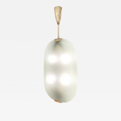 Max Ingrand Textured Glass Pendant by Fontana Arte Italy 1955