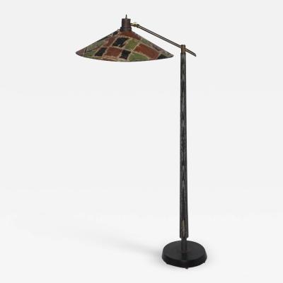 Max Kment Max Kment Style Ebonized Floor Lamp with Tilt Parchment Rice Hat Shade 1950s