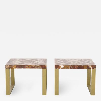Max Papiri Massimo Papiri Marble Specimen Diaspro Sicily and Gold Brass Pair of side Tables