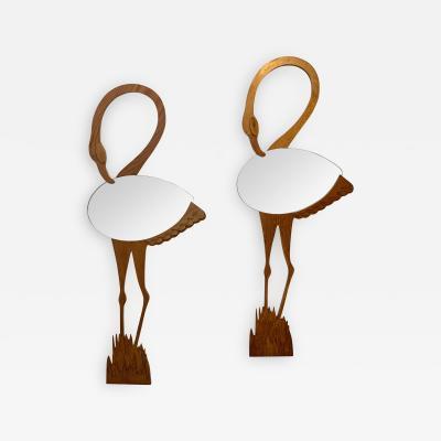 Max Papiri Pair of Flamingo Wood Mirror by Max Papiri Italy 1970s