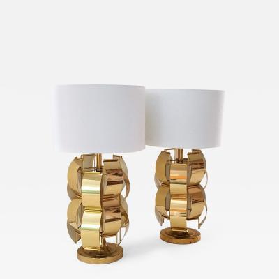 Max Sauze Max Sauze Style Table Lamps Brass Armatures C 1965