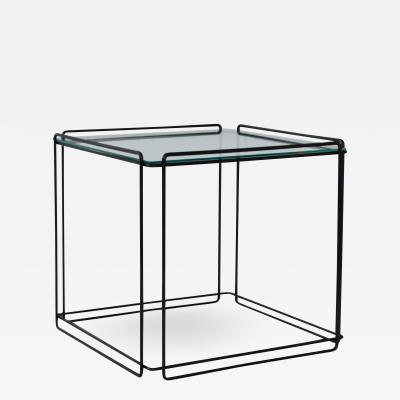 Max Sauze Mid Century Wrought Iron and Glass Side Table