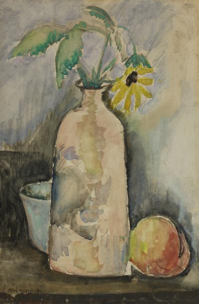 Max Weber Still Life with Daisy Bottle and Peach