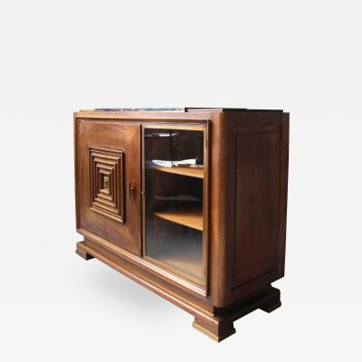 Maxime Old Fine French Art Deco Two Doors Walnut Buffet in the Manner of Maxime Old